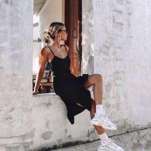 Vintage | Black Satin Slip On Side Split Dress M